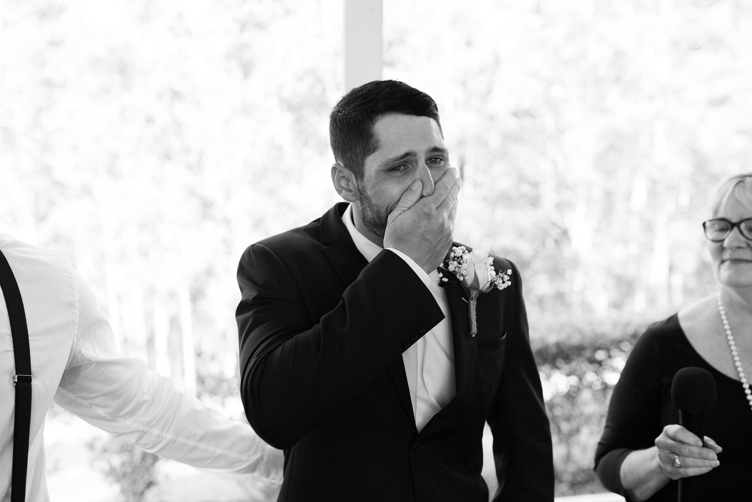 Groom crying Austinvilla Estate Gold Coast wedding